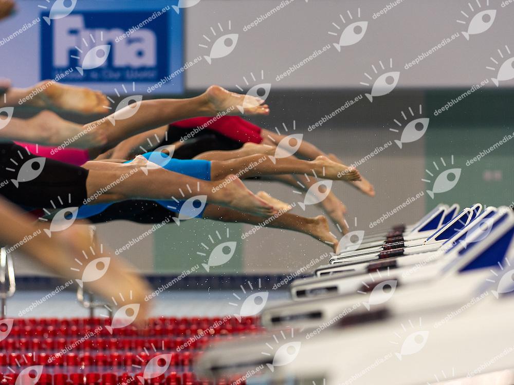 50 Breaststroke women start<br /> 4th FINA World Junior Swimming Championships<br /> Day01 Aug.26 Heats<br /> Dubai U.A.E. 26-31 August 2013<br /> Photo G. Scala/Insidefoto/Deepbluemedia.eu