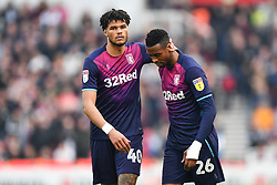 February 23, 2019 - Stoke On Trent, England, United Kingdom - Tyrone Mings (40) of Aston Villa with Jonathan Kodjia (26) of Aston Villa during the Sky Bet Championship match between Stoke City and Aston Villa at the Britannia Stadium, Stoke-on-Trent on Saturday 23rd February 2019. (Credit Image: © Mi News/NurPhoto via ZUMA Press)
