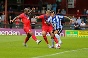 Anthony Straker & John McCoombe during the Friendly match between York City and Sheffield Wednesday at Bootham Crescent, York, England on 18 July 2015. Photo by Simon Davies.