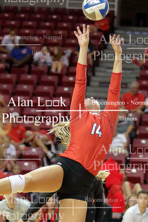 23 September 2017:  Lexi Wallen during a college women's volleyball match between the Salukis of Southern Illinois and the Illinois State Redbirds at Redbird Arena in Normal IL (Photo by Alan Look)