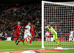 Chris Smalling of England scores the opening goal of the game against Portugal - Mandatory by-line: Robbie Stephenson/JMP - 02/06/2016 - FOOTBALL - Wembley Stadium - London, United Kingdom - England v Portugal - International Friendly