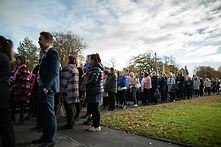 © Licensed to London News Pictures . 30/10/2018. Accrington , UK . Crowds queue to enter the crematorium to attend the service . The funeral of Gemma Nuttall at Accrington Crematorium . Gemma died of cancer despite initially seeing off the disease after radical immunotherapy treatment in Germany , paid for with the fundraising support of actress Kate Winslet , who read of Gemma's plight on a crowdfunding website shortly after she lost her own mother to cancer . Permission to photograph given by Gemma's mother , Helen Sproates . Photo credit : Joel Goodman/LNP