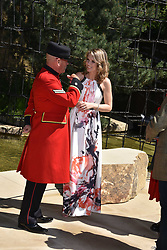 Charlotte Hawkins and Chelsea Pensioner at the RHS Chelsea Flower Show Press Day, Royal Hospital Chelsea, London England. 22 May 2017.<br /> Photo by Dominic O'Neill/SilverHub 0203 174 1069 sales@silverhubmedia.com