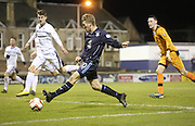 Jim McAlister scores Dundee's second goal  - Raith Rovers v Dundee,  SPFL Championship at Starks Park<br /> <br />  - &copy; David Young - www.davidyoungphoto.co.uk - email: davidyoungphoto@gmail.com