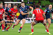 MELBOURNE, AUSTRALIA - APRIL 06: Jack Maddocks of the Rebels fakes a pass to a teammate at round 8 of The Super Rugby match between Melbourne Rebels and Sunwolves on April 06, 2019 at AAMI Park in VIC, Australia. (Photo by Speed Media/Icon Sportswire)