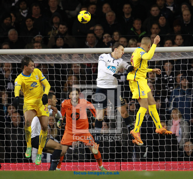 Picture by John Rainford/Focus Images Ltd +44 7506 538356<br /> 11/01/2014<br /> Vlad Chiriches of Tottenham Hotspur is beaten in the air by Dwight Gayle of Crystal Palace during the Barclays Premier League match at White Hart Lane, London.