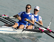 Munich, GERMANY, 27.08.2007, FRA LM2X, Bow, Fabrice MOREAU and Frederic DUFOUR, on the second day on the  Munich Olympic Regatta Course, venue for 2007 World Rowing Championship, Bavaria. [Mandatory Credit. Peter Spurrier/Intersport Images]..... , Rowing Course, Olympic Regatta Rowing Course, Munich, GERMANY