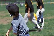 boy imitating older baseball players