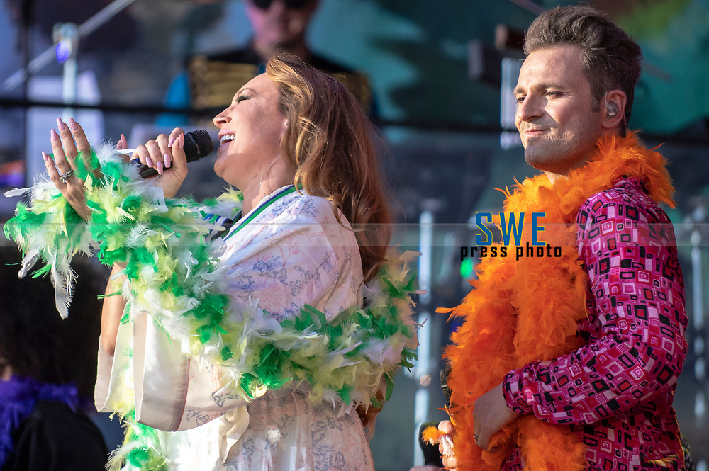 2018-07-06 | Hok, Sweden: Charlotte Perrelli and Ola Salo during the Diggiloo show at Hooks Herrg&aring;rd ( Photo by: Marcus Vilson | Swe Press Photo )<br /> <br /> Keywords: Artists, Diggiloo, Show, Singers, Sweden, Tour, Music, Hok, Hooks Herrg&aring;rd, Charlotte Perrelli, Ola Salo