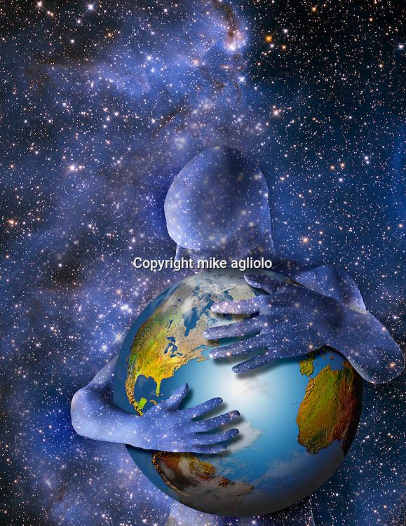 star man hugging earth