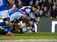 Rugby Union - 2017 Autumn Internationals - Scotland vs. Samoa<br /> <br /> Alex Dunbar of Scotland scores a try at Murrayfield.<br /> <br /> COLORSPORT