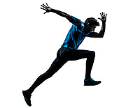 one  man racing running sprinting in silhouette studio isolated on white background