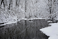 A Snow Covered Little Creek In Winter, Keehner Park, Southwestern Ohio, USA
