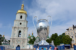May 25, 2018 - Kiev, Kiev, Ukraine - Fan Zone of football fans of the UEFA Champions League final. Large inflatable UEFA Champions League Cup. (Credit Image: © Alexandr Gusev/Pacific Press via ZUMA Wire)