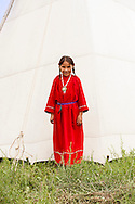 Battle of the Little Bighorn Reenactment,<br /> Custers Last Stand, Crow Indian Reservation, Montana, Crow Indian girl