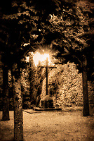 """The Hand of God Shines on the Cross - Convent of the Cells of Cortona – BW"" <br />