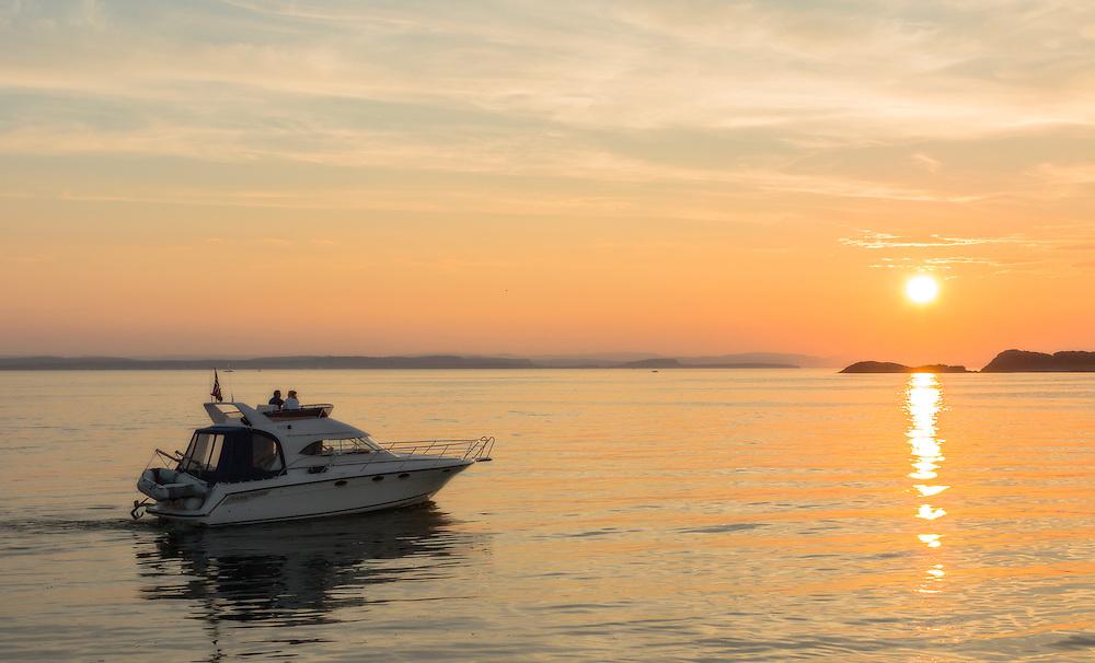 Sunset over Oslofjord, Fuglevik, Norway