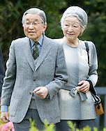 His Imperial Majesty Emperor Akihito and Empress Michiko visit the Kyoto Garden built as part of the Japan Festival 1991 and which was jointly opened by Japan's Crown Prince Naruhito and the Prince of Wales at Holland Park, London