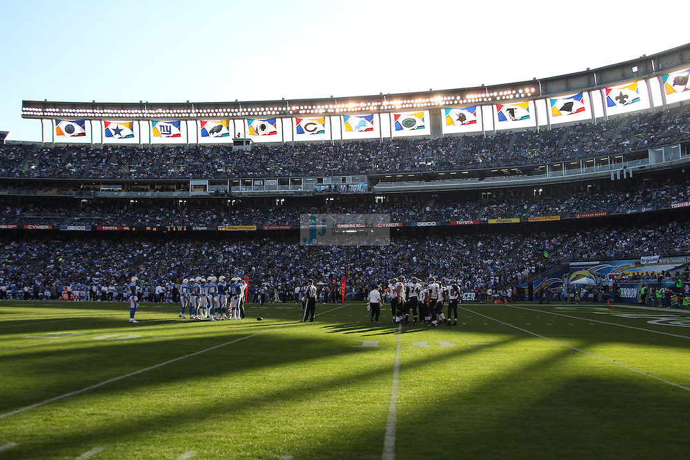 Members of the Baltimore Ravens look on against the San Diego Chargers during an NFL game on Sunday, November 25, 2012 in San Diego, CA.  (Photo by Jed Jacobsohn)