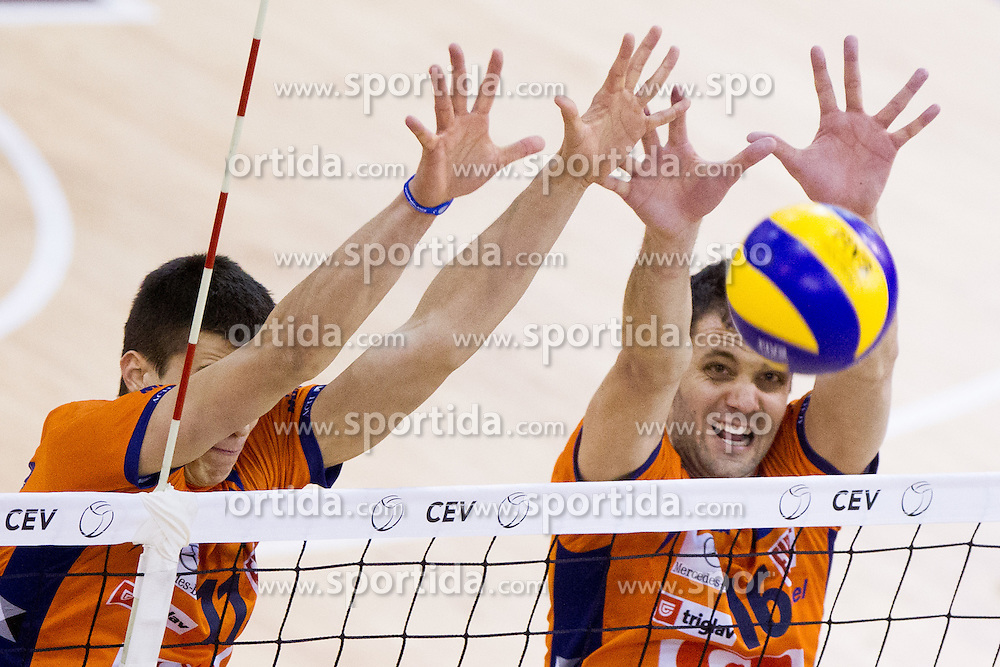 Klemen Cebulj and Matej Vidic of ACH during volleyball match between ACH Volley (SLO) and Knack Roeselare (BEL) at Quarterfinals of CEV Challenge Cup 2011/2012, on February 8, 2012 in Arena Tivoli, Ljubljana, Slovenia. ACH Volley defeated Knack Roeselare  3-0. (Photo By Vid Ponikvar / Sportida.com)