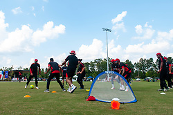 September 22, 2018 - Morrisville, North Carolina, US - Sept. 22, 2018 - Morrisville N.C., USA - Team Canada relaxes with a friendly soccer game before the ICC World T20 America's ''A'' Qualifier cricket match between USA and Canada. Both teams played to a 140/8 tie with Canada winning the Super Over for the overall win. In addition to USA and Canada, the ICC World T20 America's ''A'' Qualifier also features Belize and Panama in the six-day tournament that ends Sept. 26. (Credit Image: © Timothy L. Hale/ZUMA Wire)