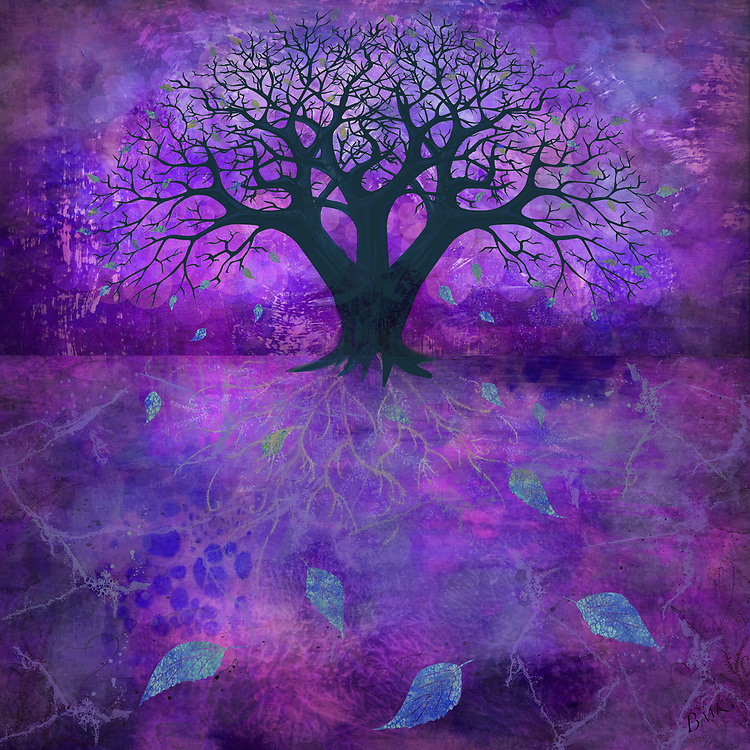 Bare tree shape on a glowing warm purple background with colorful falling leaves