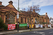 The exterior of Carnegie Library in Herne Hill, south London while occupiers remain inside the premises on day 7 of its occupation, 6th April 2016. The angry local community in the south London borough have occupied their important resource for learning and social hub for the weekend. After a long campaign by locals, Lambeth have gone ahead and closed the library's doors for the last time because they say, cuts to their budget mean millions must be saved.