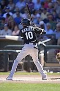SURPRISE, AZ - MARCH 10:  Alexei Ramirez #10 of the Chicago White Sox bats during the spring training game between the Kansas City Royals and Chicago White Sox on March 10, 2015 at Surprise Stadium in Surprise, Arizona. (Photo by Ron Vesely)   Subject:  Alexei Ramirez