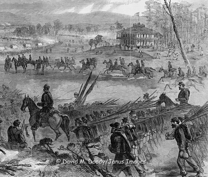 "Civil War: ""General Sherman's Grand March through Central Georgia"". Harper's Weekly 1864. Endless lines of wagons and troops with men at a cooking fire in foreground (detail)"
