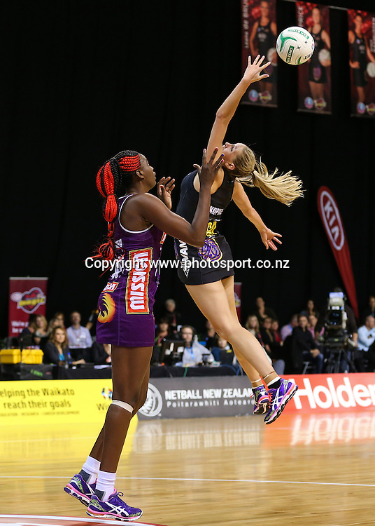 Waikato BOP Magic captain Casey Kopua attempts an intercept during the ANZ Championship netball match - Waikato BOP Magic v Queensland Firebirds at Claudelands Arena, Hamilton, New Zealand on Monday 2 June 2014.  Photo:  Bruce Lim / www.photosport.co.nz