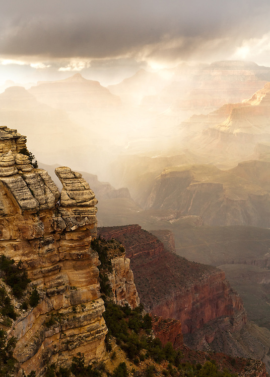 Late spring brings rain to the Grand Canyon. From Mather Point on the South Rim of Grand Canyon National Park.
