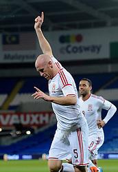 James Collins of Wales (West Ham) celebrates his goal. - Photo mandatory by-line: Dougie Allward/JMP - Tel: Mobile: 07966 386802 03/03/2014 -