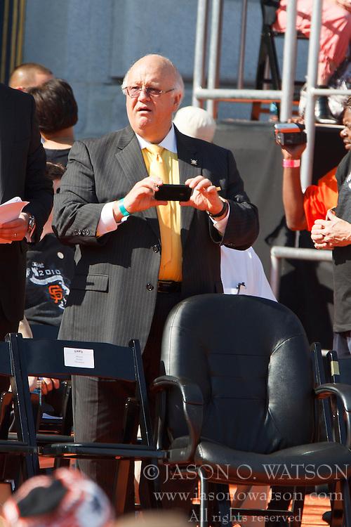 November 3, 2010; San Francisco, CA, USA;  San Francisco Giants hall of fame radio broadcaster Jon Miller at the World Series victory parade at City Hall.
