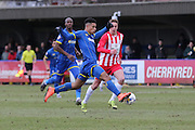Lyle Taylor of AFC Wimbledon stretches for the ball during the Sky Bet League 2 match between AFC Wimbledon and Accrington Stanley at the Cherry Red Records Stadium, Kingston, England on 5 March 2016. Photo by Stuart Butcher.