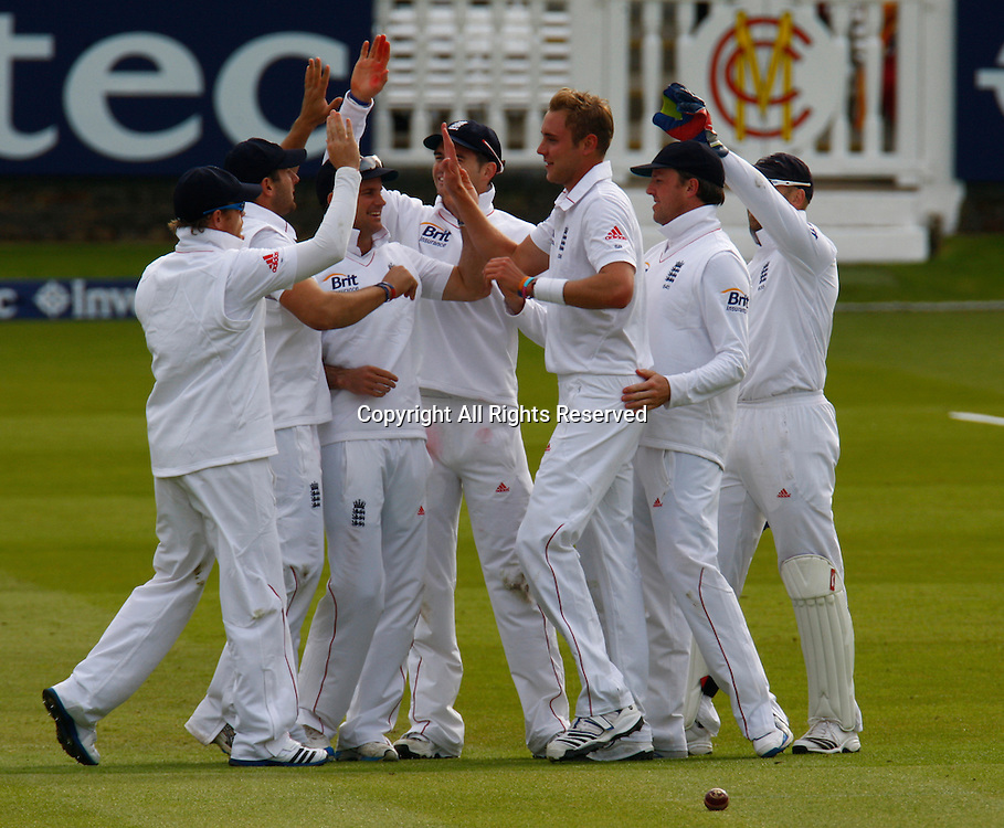 17.05.12 Lords,London, ENGLAND: <br /> Stuart Broad of England  celebrates the wicket of Denesh Ramdin of West Indies during the Investec First Test ( 1st Day of 5 )between England and West Indies