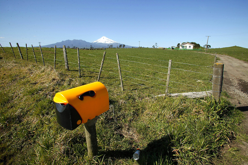 A rural letterbox shows loyality to the Taranaki Rubgy team by displaying the province's jersey colours at Okato in West Taranaki, New Zealand, July 29, 2005. Credit:SNPA / Rob Tucker
