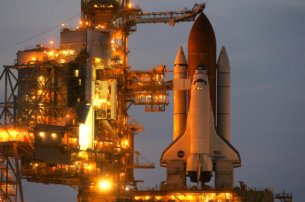 Space Shuttle Discovery launch, STS-121.Discovery sits on the launch pad on the night before launch, June 30, 2006.