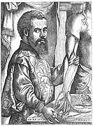 Andreas Vesalius (1514-1564) Flemish anatomist. Engraving after Jan Stephanus van Calcker (Calcar) c.1499-1546