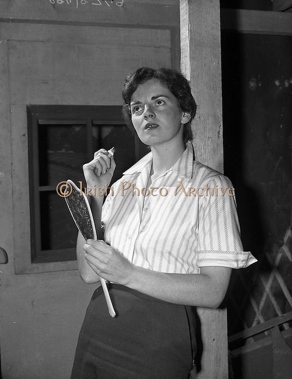 """23/06/1959<br /> 06/23/1959<br /> 23 June 1959<br /> Damer Hall Rehersal of Frank Carney's """"Siul Barr Cnoic"""" at Damer Hall, Dublin by Aisteoiri Ceitinn for Gael Linn. Mairin Duireac as Sorcha. The play was performed 29/06/1959."""