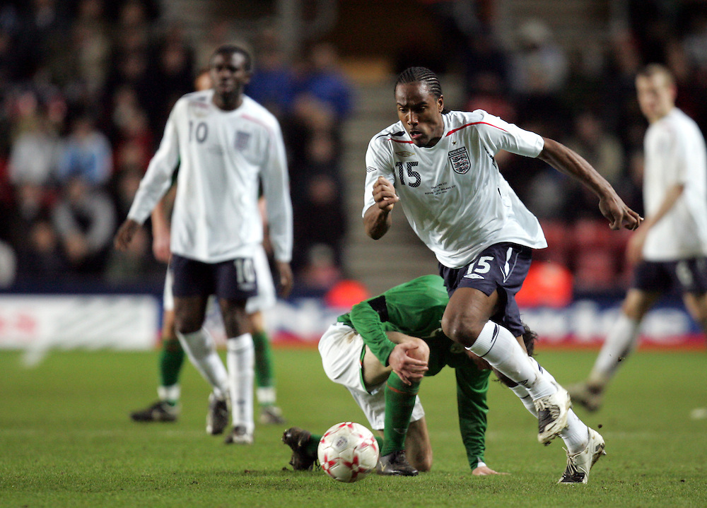 Cameron Jerome of England attacks. England v Republic of Ireland, Uefa Under-21 Championship Qualifier, Tuesday 5th February 2008, St Marys, Southampton.