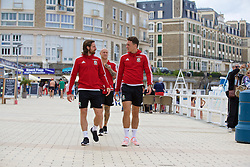 DINARD, FRANCE - Tuesday, June 28, 2016: Wales' Joe Allen, David Cotterill and James Chester take a walk on Promenade des Alliés during a trip to Dinard as they prepare for the Quarter-Final match against Belgium during the UEFA Euro 2016 Championship. (Pic by David Rawcliffe/Propaganda)
