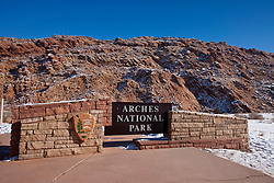 National Park Service entrance sign, Arches National Park, Utah, United States of America
