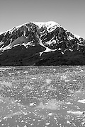 Alaska, USA, icy water near a glacier. In black and white