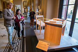 London, UK. 13 September, 2019. Designer Sebastian Cox displays his Writer's Collection, a desk, chair and pen holder in sustainable American red oak for Amanda Nevill of the British Film Institute, at the Victoria & Albert museum during the London Design Festival launch. The design forms part of the Legacy installation.