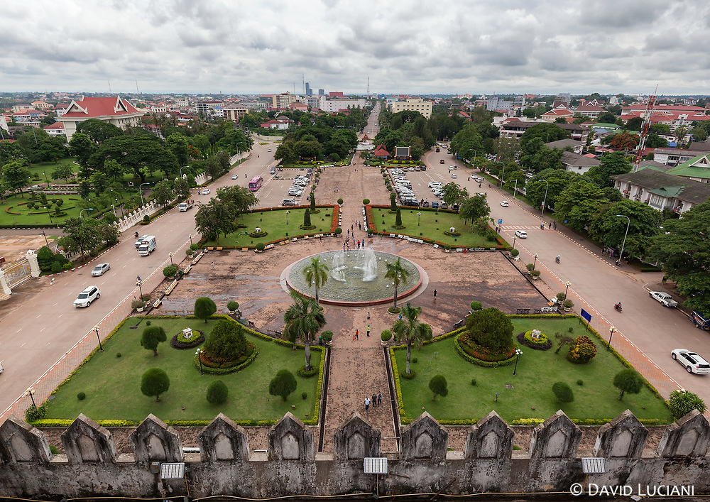 "View from the top of Patuxai, also known as ""Arc de triomphe"" of Vientiane."