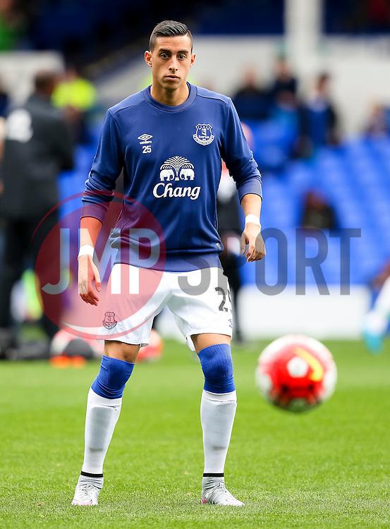 Everton's Ramiro Funes Mori warms up - Mandatory byline: Matt McNulty/JMP - 07966386802 - 12/09/2015 - FOOTBALL - Goodison Park -Everton,England - Everton v Chelsea - Barclays Premier League