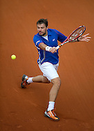 Stanislas Wawrinka of Switzerland competes in men's singles while Day Third during The French Open 2013 at Roland Garros Tennis Club in Paris, France...France, Paris, May 28, 2013..Picture also available in RAW (NEF) or TIFF format on special request...For editorial use only. Any commercial or promotional use requires permission...Mandatory credit:.Photo by © Adam Nurkiewicz / Mediasport