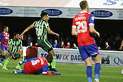 Lyle Taylor forward for AFC Wimbledon (33) scores to make it 0-1during the Sky Bet League 2 match between Dagenham and Redbridge and AFC Wimbledon at the London Borough of Barking and Dagenham Stadium, London, England on 19 April 2016. Photo by Stuart Butcher.