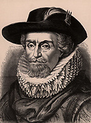 James VI of Scotland from 1567, and James I of England and Ireland from 1603 (1566-1625). Son of Mary Queen of Scots, he was the first Stuart monarch of the United Kingdom . Wood engraving c1900.