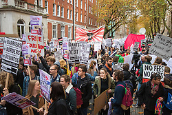 "London, November 4th 2015. Thousands of students prepare to march through the capital as part of their ""fight for free education,"" protesting against student debt as well as demanding ""an end to the scapegoating and deportation of international students.""   // Licencing: Please contact: paul@pauldaveycreative.co.uk Mobile 07966 016 296 Home 020 8969 6875"